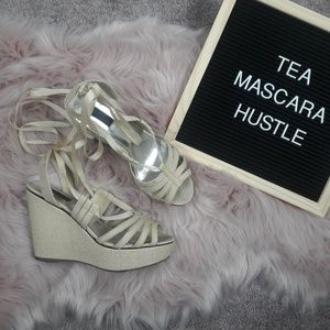 White House Black Market tie up wedges